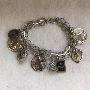 Jewelry - Vtg Sterling 925 9 Charm Bracelet religious